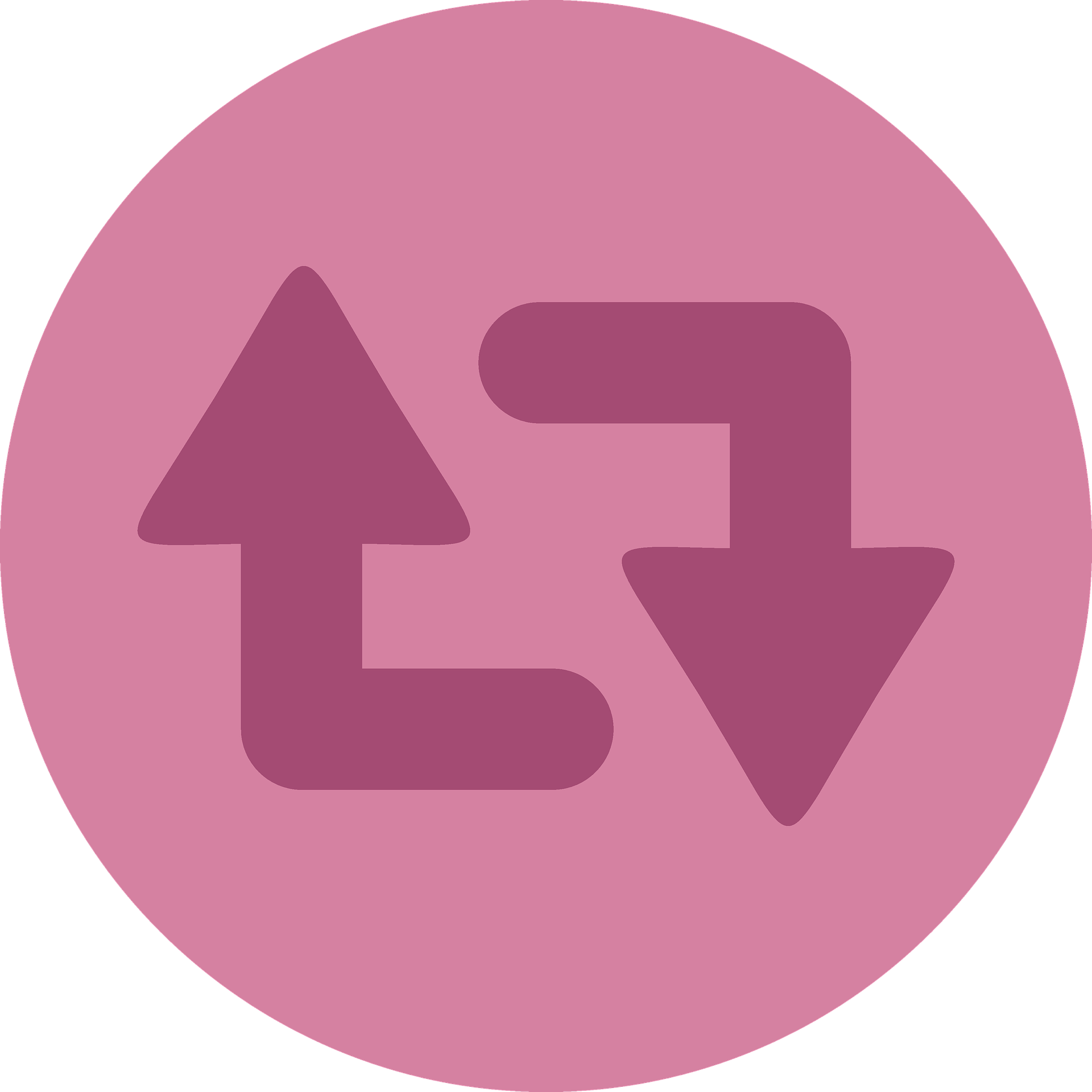 A dark pink on light pink version of Twitter's Retweet icon, to encourage you to share my sex blog with your friends!