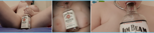 Three side-by-side images of Morgan posing sexily with a Jim Beam bottle for this week's Smut Saturdays on intoxication - one in which xe has xir legs spread, with the bottle covering their vulva, one blurry one of the bottle between xir tits, and one in which xe is sucking on the top of the bottle